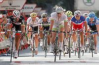 John Degenkolb (c) winner during the stage of La Vuelta 2012 between Logroño and Logroño and Daniele Bennati (l), second classified.August 22,2012. (ALTERPHOTOS/Acero) /NortePhoto.com<br /> <br /> **SOLO*VENTA*EN*MEXICO**<br /> **CREDITO*OBLIGATORIO**<br /> *No*Venta*A*Terceros*<br /> *No*Sale*So*third*<br /> *** No Se Permite Hacer Archivo**<br /> *No*Sale*So*third*