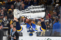 June 12, 2019: St. Louis Blues left wing Jaden Schwartz (17) kisses the Stanley Cup at game 7 of the NHL Stanley Cup Finals between the St Louis Blues and the Boston Bruins held at TD Garden, in Boston, Mass.  The Saint Louis Blues defeat the Boston Bruins 4-1 in game 7 to win the 2019 Stanley Cup Championship.  Eric Canha/CSM.