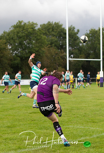 Leicester, England, 9th, September, 2017. <br /> <br /> Action in the National League 2 North rugby union match between Leicester Lions rfc and South Leicester rfc.  Jonathan Boden kicks a conversion for Leicester Lions<br /> <br /> <br /> <br /> <br /> &copy; Phil Hutchinson