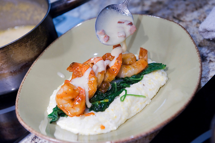 UNITED STATES - MAY 26:  Carolina Style Barbequed Shrimp with grits are on the menu at Watershed restaurant on 1st. Street, NE.  (Photo By Tom Williams/Roll Call)