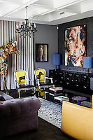 Dr Zhivago, a tapestry work by Frédérique Morrel, presides over the quirky sausage-dog chairs from Jimmie Martin. The large canvas by Canadian artist Nick Lepard makes you look twice. Other works include a Louis Olivier collage on the wall, a small oil by Fikile Mghosyi (as part of the Spier Creative Block initiative) from Brundyn + Gonsalves, and Frank van Reenen's Silver Dog sculpture. The server was custom-made by De Steyl cabinetmakers in George.