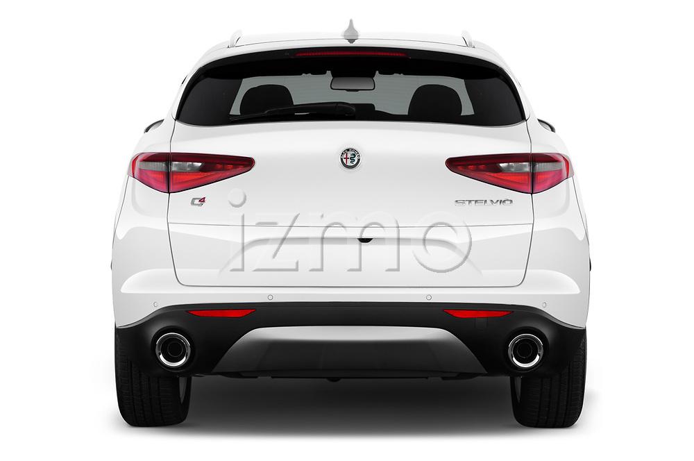 Straight rear view of a 2018 Alfa Romeo Stelvio Ti 5 Door SUV stock images