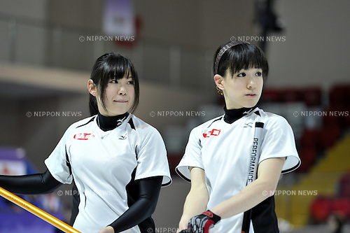 (L-R) Risa Ujihara, Mao Ishigaki (JPN), ..JANUARY 28, 2011 - Curling : ..The 25th Winter Universiade Erzurym 2011 between Japan Women's and Germany Women's at Curling Hall, Erzurum, Turkey. (Photo by AFLO)