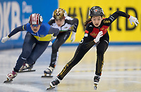 1st February 2019, Dresden, Saxony, Germany; World Short Track Speed Skating; 500 meters women in the EnergieVerbund Arena. Wang Xiran (r) from China on the track.