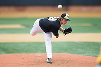 Wake Forest Demon Deacons starting pitcher Garrett Kelly (28) in action against the Towson Tigers at Wake Forest Baseball Park on March 1, 2015 in Winston-Salem, North Carolina.  The Demon Deacons defeated the Tigers 15-8.  (Brian Westerholt/Four Seam Images)