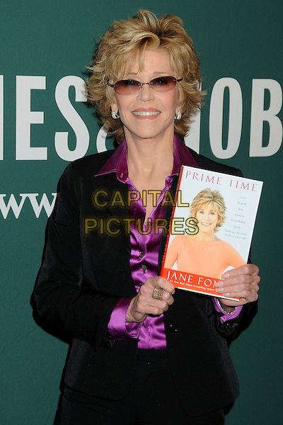 "Jane Fonda.Jane Fonda Book Signing for ""Prime Time: Love, Health, Sex, Fitness, Friendship, Spirit -- Making the Most of All of Your Life."" held at Barnes & Noble, The Grove, Los Angeles, California, USA..August 15th, 2011.half length black purple silk satin shirt blouse suit jacket  sunglasses shades ring.CAP/ADM/BP.©Byron Purvis/AdMedia/Capital Pictures."