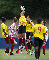 Victoria Wotton of Watford Ladies wins the ball in the air during the pre season friendly match between Stevenage Ladies FC and Watford Ladies at The County Ground, Letchworth Garden City, England on 16 July 2017. Photo by Andy Rowland / PRiME Media Images.