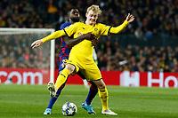 27th November 2019; Camp Nou, Barcelona, Catalonia, Spain; UEFA Champions League Football, Barcelona versus Borussia Dortmund;  Julian Brandt holds off Umtiti of Barca - Editorial Use