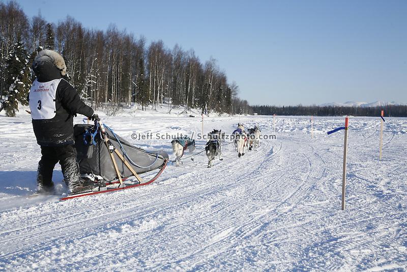 Sunday, February 25th, Willow, Alaska.  Jr. Iditarod musher Ava Lindner near the finish line