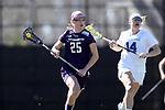 DURHAM, NC - FEBRUARY 18: Northwestern's Ally Mueller (25). The Duke University Blue Devils hosted the Northwestern University Wildcats on February 18, 2018, at Koskinen Stadium in Durham, NC in women's college lacrosse match. Duke won the game 9-8.