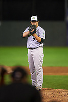 Vermont Lake Monsters pitcher John Gorman (22) looks in for the sign during the second game of a doubleheader against the Batavia Muckdogs August 11, 2015 at Dwyer Stadium in Batavia, New York.  Batavia defeated Vermont 1-0.  (Mike Janes/Four Seam Images)