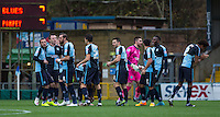 The Wycombe players prepare for the match ahead during the Sky Bet League 2 match between Wycombe Wanderers and Portsmouth at Adams Park, High Wycombe, England on 28 November 2015. Photo by Andy Rowland.