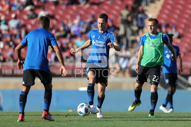 Stanford, CA - Saturday June 30, 2018: Francois Affolter prior to a Major League Soccer (MLS) match between the San Jose Earthquakes and the LA Galaxy at Stanford Stadium.