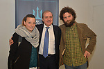 Mauro Vegni, RCS Sport Cycling Director, with Michele Scarponi's sister and brother, Silvia and Marco, who attended today's presentation of the 53rd edition of the Tirreno-Adriatico from the 7th to 13th March 2018 was launched this morning. As a fitting tribute to Michele Scarponi's memory the 5th stage will finish in his city, Filottrano. The route of the Corsa dei Due Mari (The Race of the Two Seas) has been unveiled in the splendid setting of the Sala Macchi, inside the Sanctuary of Loreto. Italy. 12th January 2018.<br /> Picture: LaPresse | Cyclefile<br /> <br /> <br /> All photos usage must carry mandatory copyright credit (&copy; Cyclefile | LaPresse/)