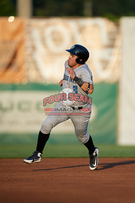 Hudson Valley Renegades second baseman Jonathan Aranda (2) runs the bases during a game against the Auburn Doubledays on September 5, 2018 at Falcon Park in Auburn, New York.  Hudson Valley defeated Auburn 11-5.  (Mike Janes/Four Seam Images)