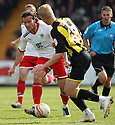 Lawrie Wilson of Stevenage takes on Adam Thompson of Brentford (on loan from Watford). - Stevenage v Brentford - npower League 1 - Lamex Stadium, Stevenage - 21st April, 2012. © Kevin Coleman 2012