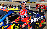 May 30, 2008; Dover, DE, USA; Nascar Sprint Cup Series driver Jeff Gordon during qualifying for the Best Buy 400 at the Dover International Speedway. Mandatory Credit: Mark J. Rebilas-US PRESSWIRE