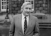 Eddie Collins, TD, Fine Gael, Rep of Ireland, outside the Dail, the Irish Parliament, December 1982, 19821200333b<br /> <br /> Copyright Image from Victor Patterson, 54 Dorchester Park, <br /> Belfast, UK, BT9 6RJ<br /> <br /> t1: +44 28 9066 1296 (from Rep of Ireland 048 9066 1296)<br /> t2: +44 28 9002 2446 (from Rep of Ireland 048 9002 2446)<br /> m: +44 7802 353836<br /> <br /> victorpatterson@me.com<br /> www.victorpatterson.com<br /> <br /> Please see my Terms and Conditions of Use at VICTORPATTERSON.COM. It is IMPORTANT that you familiarise yourself with them.<br /> <br /> Images used on the Internet must be visibly watermarked i.e. &copy;VICTORPATTERSON.COM within the body of the image and copyright metadata must not be deleted. Images used on the Internet have a size restriction of 4kbs and are chargeable at the then current NUJ rates.<br /> <br /> This image is only available for the use of the download recipient i.e. television station, newspaper, magazine, book publisher, etc, and must not be passed on to any third party. It is also downloaded on condition that each and every usage is notified within 7 days to victorpatterson@me.com<br /> <br /> The right of Victor Patterson to be identified as the author is asserted in accordance with The Copyright Designs And Patents Act (1988).