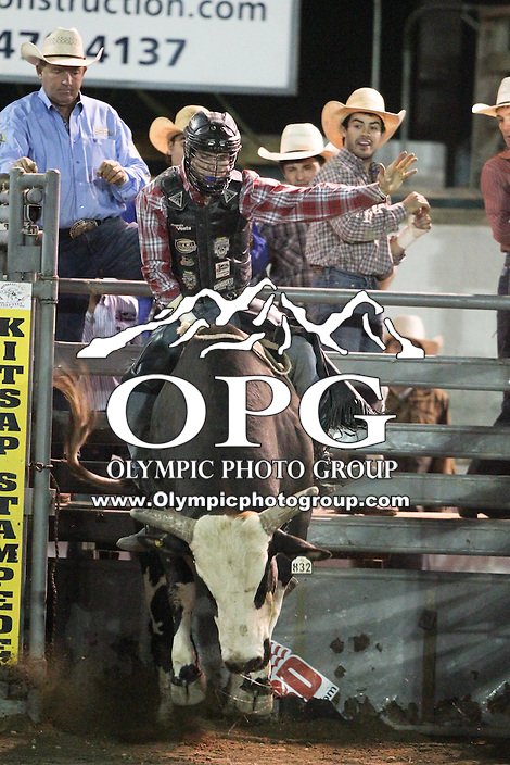 20 Aug 2014:  Riker Carter was not able to score while competing in the Seminole Hard Rock Extreme Bulls competition at the Kitsap County Stampede in Bremerton, Washington.