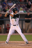 Dayton Dragons second baseman Ryan Wright #9 bats during a game against the Lake County Captains at Fifth Third Field on June 25, 2012 in Dayton, Ohio. Lake County defeated Dayton 8-3. (Brace Hemmelgarn/Four Seam Images)