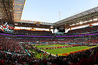 2nd February 2020, Miami Gardens, Florida, USA;  The San Francisco 49ers and the Kansas City Chiefs line up across their 25 yard lines for a moment of silence for Kobe and Gianna Bryant and the others killed in the helicopter crash as well as former NFL Hall of Fame player Chris Doleman prior to Super Bowl LIV on February 2, 2020 at Hard Rock Stadium in Miami Gardens