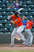 Anthony Hermelyn 16 of the Buies Creek Astros at bat against the Winston-Salem Dash at BB&T Ballpark on April 13, 2017 in Winston-Salem, North Carolina.  The Dash defeated the Astros 7-1.  (Brian Westerholt/Four Seam Images)