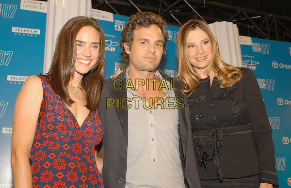 "JENNIFER CONNELLY, MARK RUFFALO & MIRA SORVINO.""Reservation Road"" Press Conference held at Sutton Place Hotel, Toronto, Ontario, Canada..September 12th, 2007 .half length red blue floral print dress connolly 3/4 black jacket grey gray top .CAP/ADM/BPC.©Brent Perniac/AdMedia/Capital Pictures."