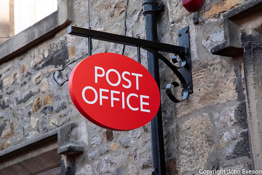Post Office sign, Slaidburn village, Clitheroe, Lancashire.