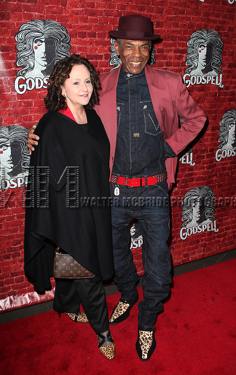 Andre de Shields & guest.arriving for the Opening Night Performance of the Broadway Revival of 'Godspell' at Circle in the Square Theatre in New York City.