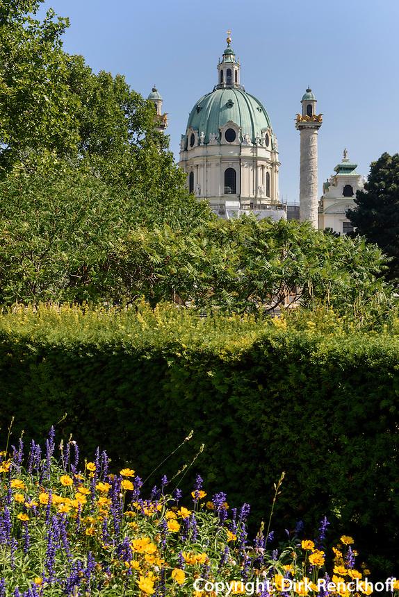 Ressel-Park und Karlskirche von 1737, Wien, &Ouml;sterreich, UNESCO-Weltkulturerbe<br /> Ressel-Park and Charles church from 1737, Vienna, Austria, world heritage
