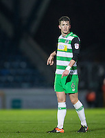 Alex Lacey of Yeovil Town during the Sky Bet League 2 match between Wycombe Wanderers and Yeovil Town at Adams Park, High Wycombe, England on 14 January 2017. Photo by Andy Rowland / PRiME Media Images.