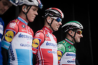 Quite a National Champions line-up at the Team Deceuninck - Quick Step team presentation at the race start in Brugge<br /> <br /> 43rd Driedaagse Brugge-De Panne 2019 <br /> One day race (1.UWT) from Brugge to De Panne BEL (200km)<br /> <br /> ©kramon