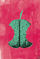 Human brain as apple core with missing bites
