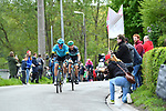 Race winning move as Jakob Fuglsang (DEN) Astana Pro Team and Davide Formolo (ITA) Bora-Hansgrohe break clear on the C&ocirc;te de Roche-aux-Faucons 105th edition of Li&egrave;ge-Bastogne-Li&egrave;ge 2019, La Doyenne, running 256km from Liege to Liege, Belgium. 28th April 2019<br /> Picture: Colin Flockton | Cyclefile<br /> All photos usage must carry mandatory copyright credit (&copy; Cyclefile | Colin Flockton)