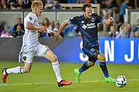 San Jose, CA - Saturday June 24, 2017: Justen Glad, Marco Ureña during a Major League Soccer (MLS) match between the San Jose Earthquakes and Real Salt Lake at Avaya Stadium.