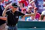 14 April 2018: MLB Umpire Jerry Meals indicates an out call after a play was video reviewed off site during a game between the Washington Nationals and the Colorado Rockies at Nationals Park in Washington, DC. The Nationals rallied to defeat the Rockies 6-2 in the 3rd game of their 4-game series. Mandatory Credit: Ed Wolfstein Photo *** RAW (NEF) Image File Available ***