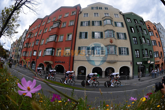 Team Sunweb in action during the Men's Elite Team Time Trial of the 2018 UCI Road World Championships running 62.8km from Ötztal to Innsbruck, Innsbruck-Tirol, Austria 2018. 23rd September 2018.<br /> Picture: Innsbruck-Tirol 2018/Dario Belingheri | Cyclefile<br /> <br /> <br /> All photos usage must carry mandatory copyright credit (© Cyclefile | Innsbruck-Tirol 2018/Dario Belingheri)