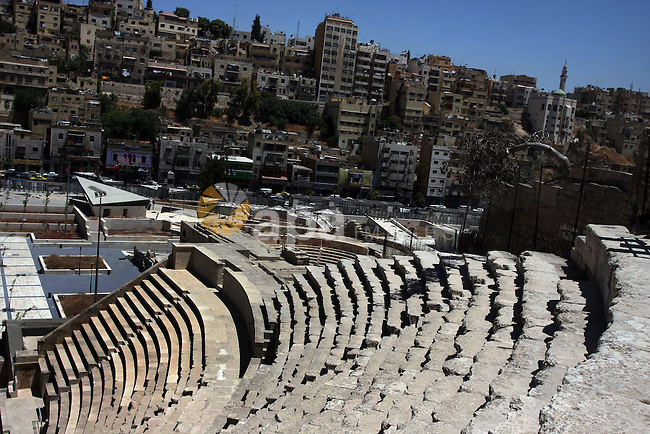 A general view for the Roman amphitheatre in Amman, Jordan, June 2, 2012. Amphitheatre of the most important Roman monuments in Amman, was built 161 years AD. Photo by Issam Rimawi