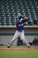 AZL Rangers infielder Frainyer Chavez (60) at bat during an Arizona League game against the AZL Cubs 2 at Sloan Park on July 7, 2018 in Mesa, Arizona. AZL Rangers defeated AZL Cubs 2 11-2. (Zachary Lucy/Four Seam Images)