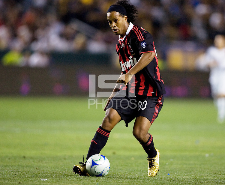 AC Milan star forward Ronaldinho moves to the goal. AC Milan played the LA Galaxy to a 2-2 tie in an International friendly match at Home Depot Center stadium in Carson, California on Sunday July 19, 2009. .
