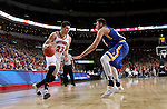 SIOUX FALLS, SD: MARCH 6: Tyler Flack #23 from the University of South Dakota looks to make a move against Mike Daum #24 from South Dakota State University during the Summit League Basketball Championship on March 6, 2017 at the Denny Sanford Premier Center in Sioux Falls, SD. (Photo by Dave Eggen/Inertia)