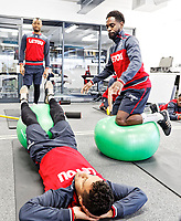 Jordan Ayew, Wayne Routledge and Nathan Dyer exercise in the gym during the Swansea City Training at The Fairwood Training Ground, Swansea, Wales, UK. Thursday 15 February 2018