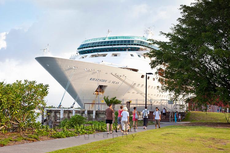 Cruise ship anchored at Trinity Wharf.  Cairns, Queensland, Australia