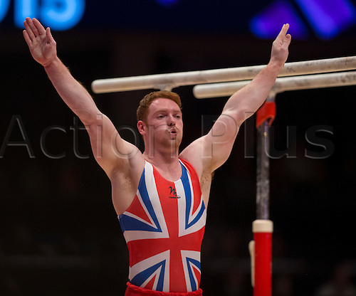 30.10.2015. Glasgow, Scotland. FIG Artistic Gymnastics World Championships. Day Eight. Daniel PURVIS (GBR) at the end of his Parallel Bar routine in the Men's All-Around Final.