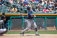 Peter O'Brien (23) of the Reno Aces at bat against the Salt Lake Bees in Pacific Coast League action at Smith's Ballpark on May 10, 2015 in Salt Lake City, Utah. Salt Lake defeated Reno 9-2 in Game One of the double-header. (Stephen Smith/Four Seam Images)