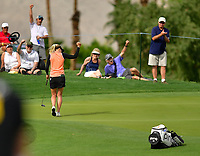 Pernilla Lindberg, of Sweden, with the fist pump after her birdie on the par 3 8th hole during the third round of the ANA Inspiration at the Mission Hills Country Club in Palm Desert, California, USA. 3/31/18.<br /> <br /> Picture: Golffile | Bruce Sherwood<br /> <br /> <br /> All photo usage must carry mandatory copyright credit (&copy; Golffile | Bruce Sherwood)during the second round of the ANA Inspiration at the Mission Hills Country Club in Palm Desert, California, USA. 3/31/18.<br /> <br /> Picture: Golffile | Bruce Sherwood<br /> <br /> <br /> All photo usage must carry mandatory copyright credit (&copy; Golffile | Bruce Sherwood)