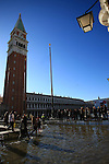 St Mark's square during an acqua alta (high-water). The Acqua Alta, a convergence of high tides and a strong sirocco, reached 125 centimetres in Venice, on November 20, 2013.  <br /> <br /> &copy; Pierre Teyssot