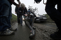 Dwars Door Vlaanderen 2013.Jack Bauer (NZL) stays down after crashing hard on the Ladeuze descent
