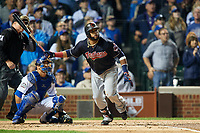 Cleveland Indians Carlos Santana (41) hits a home run in the second inning during Game 4 of the Major League Baseball World Series against the Chicago Cubs on October 29, 2016 at Wrigley Field in Chicago, Illinois.  (Mike Janes/Four Seam Images)