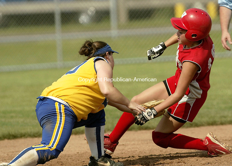 WEST HAVEN, CT - 07 JUNE 2005 -060705JS04--Wolcott's Brittany Bosse gets tagged out by Haddam-Killingworth's Chelsea Brookes while trying to steal second during their Class M semi-final game Tuesday at New Haven High School .   --Jim Shannon Photo--Brittany Bosse; Wolcott; Chelsea Brookes, Haddam-Killingworth are CQ
